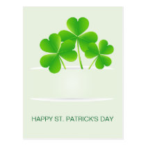realistic clovers pocket St Patrick's day postcard