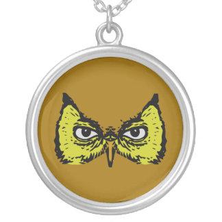 realistic creepy owl eyes face necklace