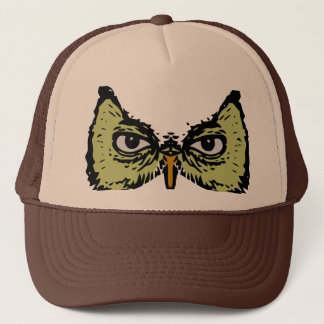 realistic creepy owl eyes face trucker hat