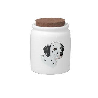 Realistic Dalmatian Dog Face Candy Jar