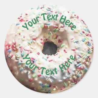 Realistic Donut with Rainbow Sprinkles Classic Round Sticker