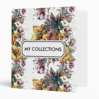 Realistic drawn floral bouquet and birds pattern 3 ring binder