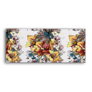 Realistic drawn floral bouquet and birds pattern envelope