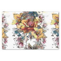 Realistic drawn floral bouquet and birds pattern tissue paper