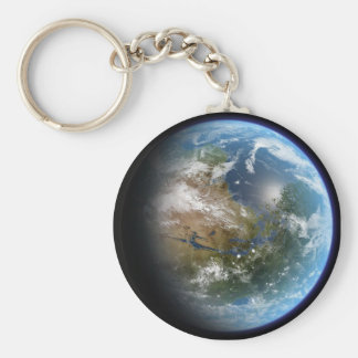 Realistic Earth Basic Round Button Keychain