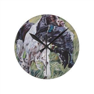 realistic English Springer Dog Fine Art Painting Round Clock