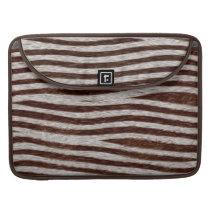 Realistic Faux Fur Zebra Stripes Animal Print Sleeve For MacBook Pro