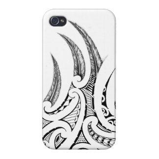 Realistic feathers in Maori wings tattoo design iPhone 4/4S Case