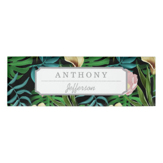 Realistic Flowers Pattern #1 Name Tag