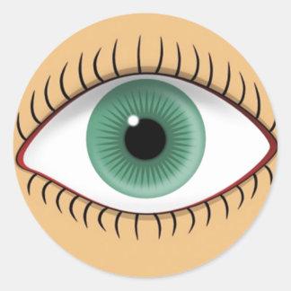 Realistic Funny Human Eye Classic Round Sticker
