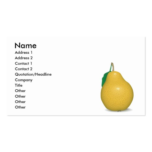 realistic golden pear business card
