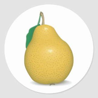 realistic golden pear classic round sticker