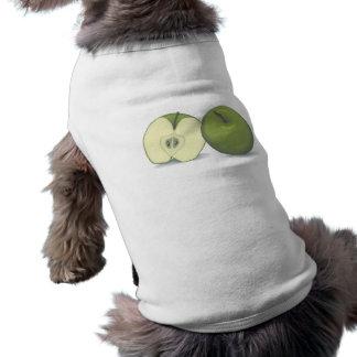 realistic green apple dog t shirt