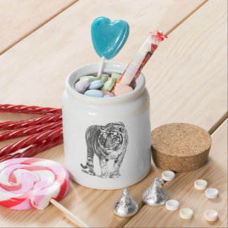 Realistic Hand Drawn Bengal Tiger with Shading Candy Jar