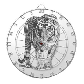 Realistic Hand Drawn Bengal Tiger with Shading Dartboard