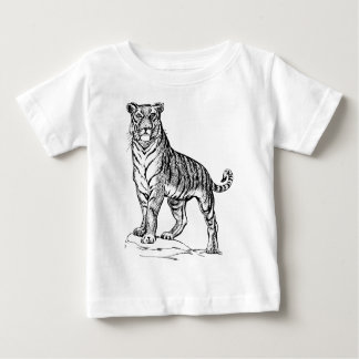 Realistic Hand Drawn Tiger Facing Forward Baby T-Shirt