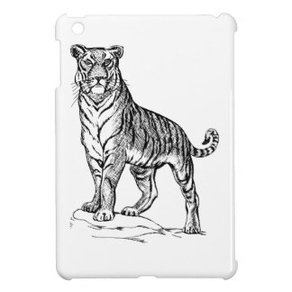 Realistic Hand Drawn Tiger Facing Forward iPad Mini Covers