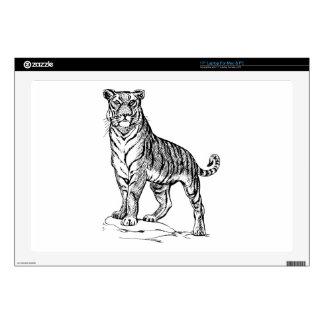 "Realistic Hand Drawn Tiger Facing Forward 17"" Laptop Skin"