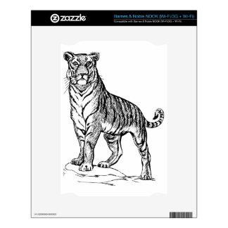 Realistic Hand Drawn Tiger Facing Forward NOOK Decals
