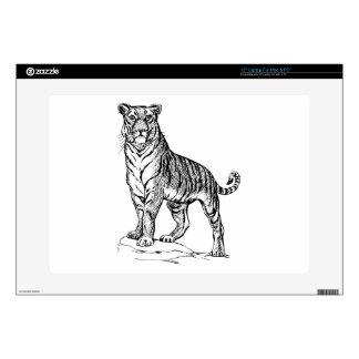 Realistic Hand Drawn Tiger Facing Forward Laptop Decals