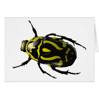 Realistic Hornless Yellow and Black Beetle Insect Card