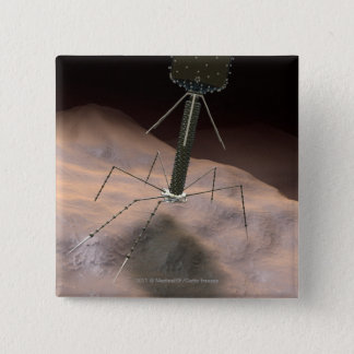 Realistic Illustration of bacteriophage Button