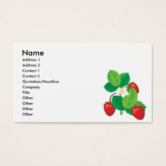 realistic juicy strawberries business card
