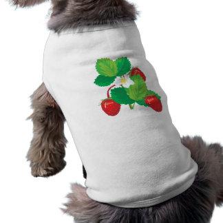 realistic juicy strawberries dog tee shirt