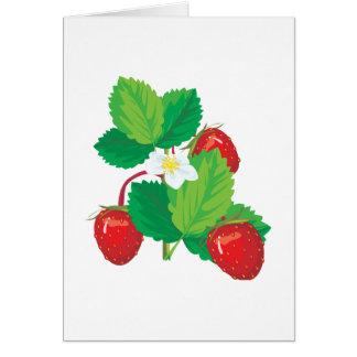 realistic juicy strawberries greeting card