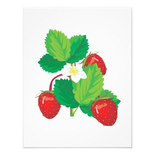 realistic juicy strawberries invitation
