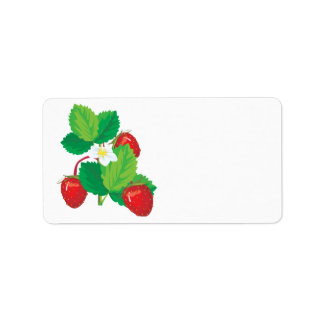 realistic juicy strawberries personalized address label