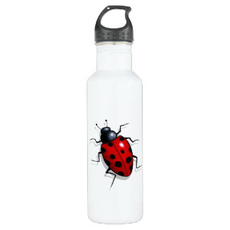 Realistic Ladybug: Freehand Art: Cute Bug Stainless Steel Water Bottle