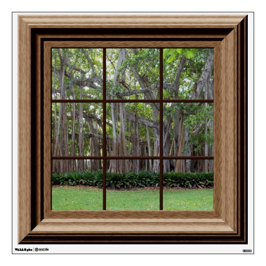 Realistic Lawn Trees Fake Window Scene Mural Wall Sticker