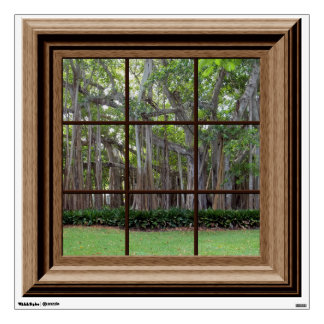 Realistic Lawn Trees Fake Window Scene Mural Room Decals