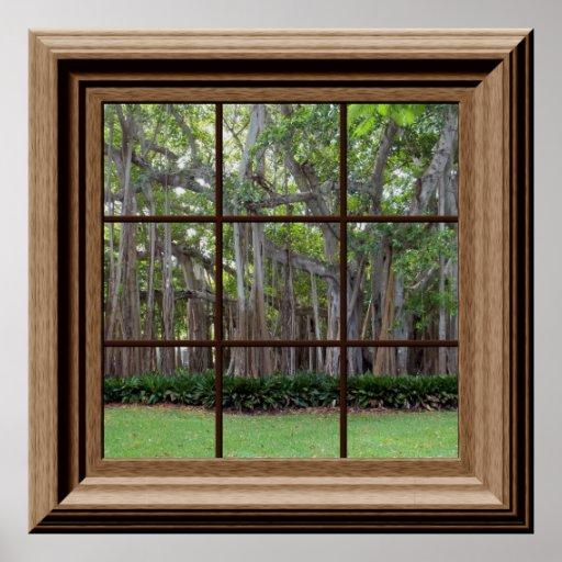 Realistic Lawn Trees Fake Window Scene Poster Zazzle