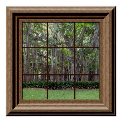 Realistic Lawn Trees Fake Window Scene Poster
