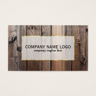 Realistic Look Rustic Wood Planks Gold Accent Business Card
