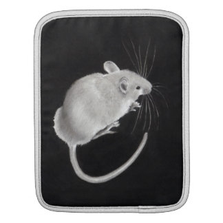 Realistic Mice Drawn In Pencil: Black Background iPad Sleeve
