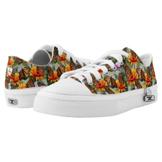 Realistic Monarch Butterflies Green Camo Monograms Low-Top Sneakers
