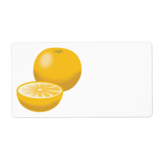 realistic orange tangerine shipping label
