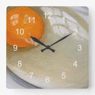 Realistic Painting of Raw Egg: Breakfast Time! Square Wall Clock