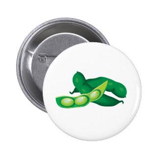 realistic pea pods 2 inch round button