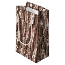 Realistic Photo Tree Bark Nature Pattern Small Gift Bag