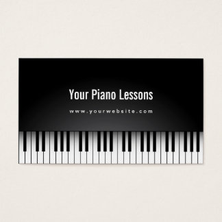 Realistic Piano Lessons Dark Business Card