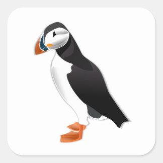 Realistic Puffin Bird Square Sticker