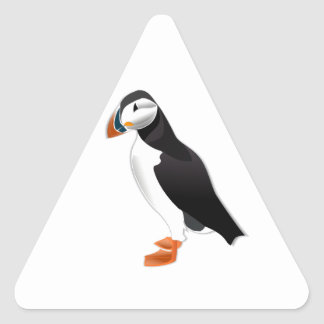 Realistic Puffin Bird Triangle Sticker