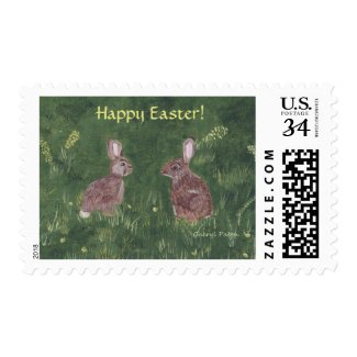 Realistic Rabbits in Grass Happy Easter Stamps