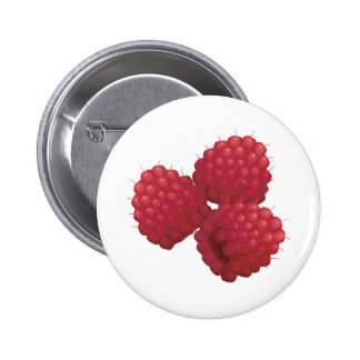 realistic raspberries pinback button