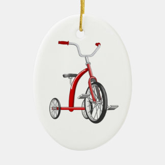 Realistic Red Tricycle Ceramic Ornament