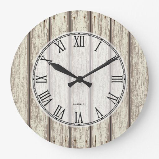 realistic rustic painted wood planks wall clock zazzle